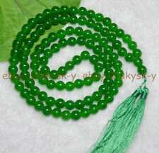 Tibet Buddhist 108 Green Jade Prayer Beads Mala Necklace, meditation, Hinduism