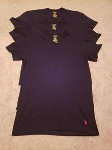 Ralph Lauren Mens 3 Pk Black V Neck Tees L Slim Fit Excellent