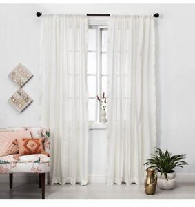 New Opalhouse Sour Cream Lace Trim Light Filtering Curtain Panel 42x95