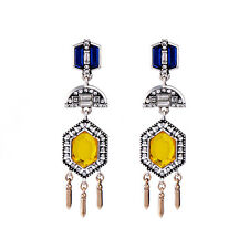 Grand Cabaret Statement Drop Earrings Rich Gold + Blues Dramatic Vintage Jewelry