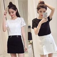 New Fashion Summer Lace Short Sleeve Korean Women Slim Casual Shirt Blouse Tops
