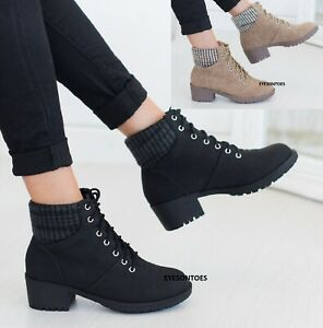 WOMENS PLATFORM LACE UP LADIES HIGH BLOCK HEEL SOLID ELASTIC BACK ANKLE BOOTS SZ