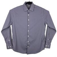 Peter Millar Summer Comfort Mens Navy Blue Plaid Long Sleeve Button Shirt Large
