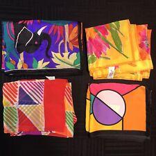 4 Scarves Oblong  ALL Silk Super Bright Geometric Jungle Retro Vtg Scarf Lot