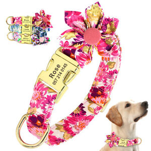 Fancy Flower Nylon Personalised Dog Collars Small Large Pet ID Buckle Engraved