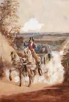Edward HULL aquarelle dessin illustrateur anglais cheval diligence chevaux route
