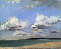 Impressionist Ocean Cloud Seascape Oil Painting on Canvas, Original Signed