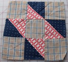 1 vintage 1890-1915's quilt block, 9 Patch variation, thread dyed woven plaid +