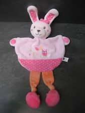 doudou lapin rose orange pois chouette tex baby