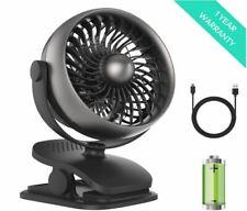 USB Rechargeable Oscillating Mini Fan Clip On Desk Fan Battery Operate Hot New