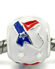 Red, White, Blue Texas Enamel Charm Compatible with European Snake Chain Charm B