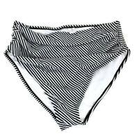 Cupshe Womens sz M Swimwear Black White Stripe Ruched Bikini Bottom