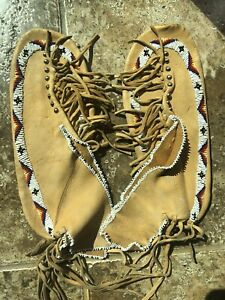 """Osage Oklahoma Native American Fully Beaded MOCCASINS Boot Shoes Tassels 9.5"""""""