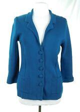 EUC Audrey & Grace Teal Blue Green Women's Cotton Knit Blazer Jacket Size Medium
