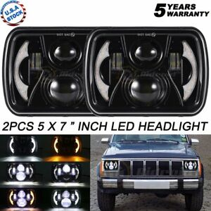 "Pair 240W 7X6"" 5X7"" Hi-Lo LED Headlights DRL For Chevrolet Express GMC Savana"