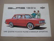 1960's GLAS 1304 TS CABRIOLET Catalogue Brochure Prospekt Dépliant French