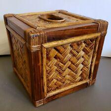 Vintage Wicker Tissue Box Holder Tissue Box Cover, Square Retro Boho Beach decor