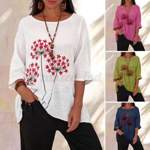ZANZEA 8-24 Women Crew Neck Short Sleeve Top Tee T-Shirt Printed Floral Blouse