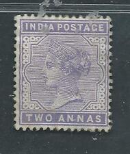 INDIA unused SG 92, Scott 58 2 annas violet Queen Victoria OG H