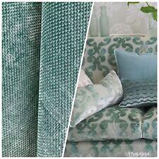 NEW Designer Velvet Checkered Upholstery Fabric - Spearmint Green- By the yard