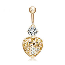 18K Gold PL Surgical Steel Hollow Heart CZ Piercing Button Navel Belly Bar Gift