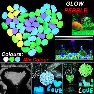 500 Glow In The Dark Pebbles Luminous Stones Garden Walkaway Aquarium Fish Tank-