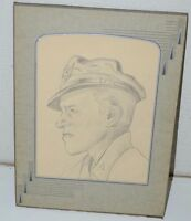 WWII Pilot USAF US Army Drawing Vintage 1945 Signed Pencil Art RARE