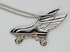 Vintage 1970s Wing Flying Raceway Roller Skate Rink Pendant Necklace Charm Disco