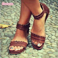 Women Summer Gladiator Casual Sandals Flat Leather Shoes Rome Style Beach New