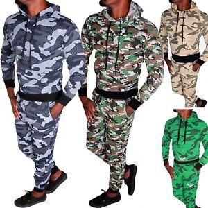 Herren Jogginganzug Jogging Hose Pullover Trainingsanzug Camouflage Fitness RF