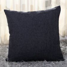 Cotton Linen Pillow Case Sofa Waist Throw Cushion Solid Cover Home Decor