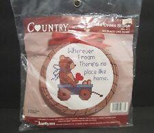 "Janlynn Counted Cross Stitch Kit #50-677 No Place Like Home Bear 5"" Round NIP"