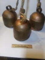 Large Antique Cow, Collar Bells Hand Made (3 bells) Hemp Rope. Wooden Clappers.