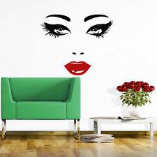 Hair Wall Decal Beauty Salon Stickers Decals Vinyl Lips Eyes Woman Decor MN476