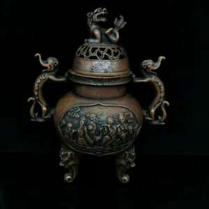"""8.9"""" Collect China Bronze Dragon Ear The Eight Immortals Figure Incense Burner"""