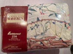 Waverly Fieldcrest King Sheet Set 250 Thread Ct Meadow Lane Floral Ruffle New