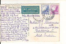 Germany 1937 air mail postcard Garmisch via Amsterdam to Netherlands Indies
