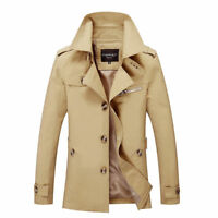 Fashion New Men's Winter Slim Vogue Trench Coat Long Jacket Overcoat Outwear