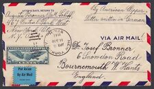 USA 1941 AMERICAN CLIPPER AIRMAIL COVER NEW YORK TO BOURNEMOUTH ENGLAND