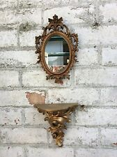 Adorable Vintage Style French Gold Rococo Shelf And Mirror