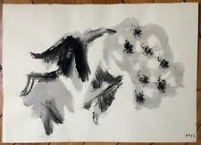 Alonso Angel encre sur papier signée datée 1957 art abstrait abstraction Espagne