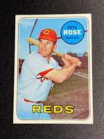 1969 Topps #120 PETE ROSE Cincinnati Reds Baseball Card - GREAT COLOR Nice