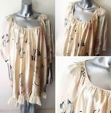 100% SILK FLORAL LOOSE TOP SIZE S-L OVERSIZE PONCHO CAPE DRESS BOHO SUMMER (2)