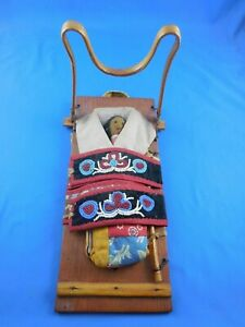 Vintage Native American Papoose Doll on Cradle Board Beaded Chippewa Minnesota