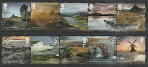 GB 2021 National Parks 1st 10v Set in 2 Strips Very Fine Used Bakewell Pmk.