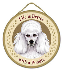 """Life is Better with a Poodle Sign Plaque Dog 10/"""" diameter pet lover gift Black"""