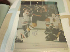 1971 Johnny Buyck #9 HOF 1981 556 Goals Boston Bruins Autograph Poster Hologram