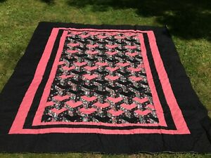 """ESTATE Hand Made QUILT Patchwork Full /Queen 86""""x86"""" Country Cotton PINK & NAVY"""