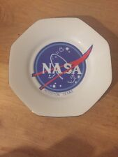 1980s NASA Houston Texas Plate Coin Tray Excellent Condition Gold Rimmed