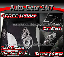 13pc Grey Black Dragon Car Seat Cover+Mats+Steering Wheel Cover+Harness Pads Set